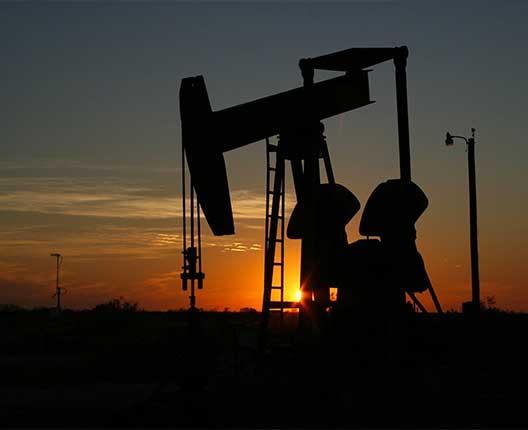 Oil rig at dusk